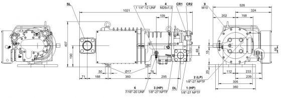 чертеж холодильный винтовой компрессор Bitzer HSN Киев