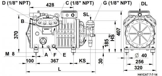 чертеж холодильный поршневой компрессор Dorin H1600CS бу Киев