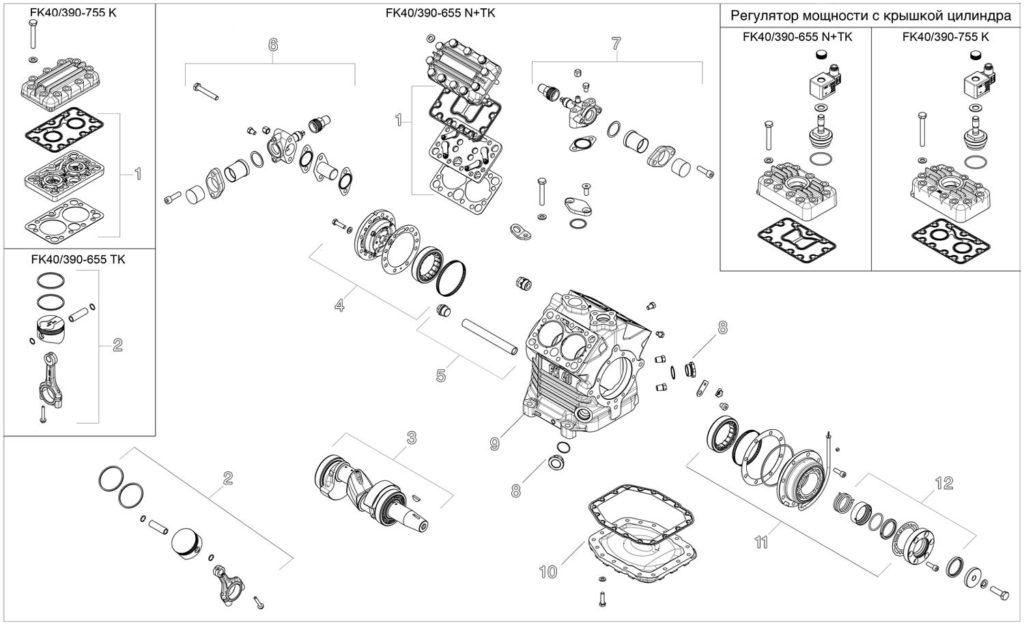 fk40 взрывной чертеж взрыв схема exploded diagram автомобильного холодильного компрессора BOCK FK40